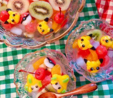 【かわいい‼】ピカチュウとジラーチの白玉フルーツポンチが話題 もったいなくて食べれない!