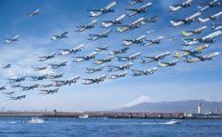 """【旅客機】同じ場所、同じ時間帯の """"飛行機"""" を取り続けて1枚にまとめたよ!"""