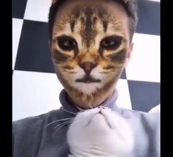 【びっくり】猫の顔に変身する「フィルター」に反応する猫が可愛すぎる!