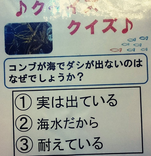 【クイズ】昆布が海でダシが出ないのはなぜでしょうか?