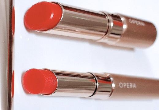 【コスメ】日本製リップティント、オペラの限定色。青みピンク寄りの薄い赤、薄付きだしラメ上品で超かわいい!売り切れ続出中