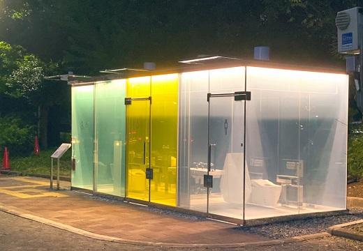 【未来感】渋谷にできた「透明トイレ」が話題。鍵をかけると一瞬でスモークがかかり不透明に