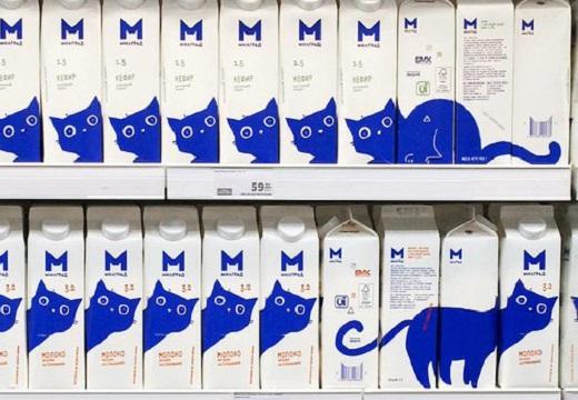 【ロシアンブルー】ロシアで売ってる牛乳、可愛いすぎるパッケージが話題