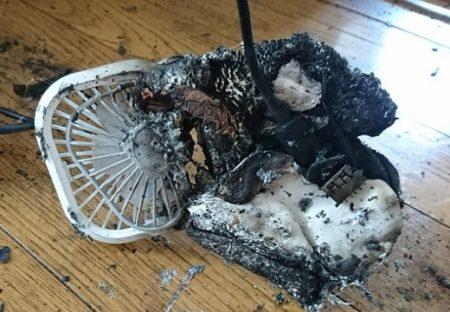【危険】充電中に発火した携帯扇風機(中国製)、残骸がものすごい