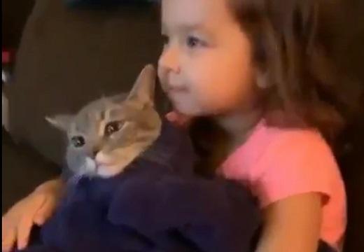 【なかよし】ぴったりくっついてくつろぐ猫と女の子が話題「猫の顔w」