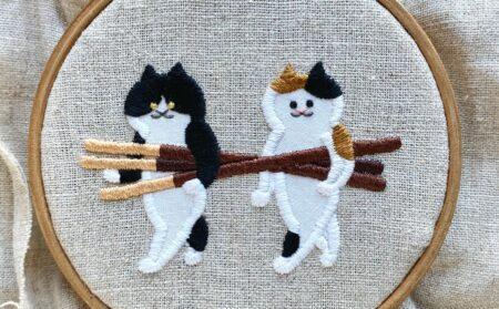 【可愛すぎる猫の刺繍】「suimin」さんの作品にワクワク感が止まらない