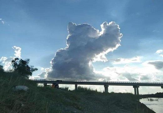 【凄い】大空に出現した白い巨大ねこが話題に「カリン様だw」