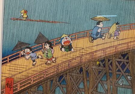 【日本アニメの源流】上野で2日間だけ公開されたドラえもん浮世絵、かなり可愛いw