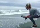 【泣いた】治療が終わったペンギン。何度も立ち止まり振り返ってから海へ帰る