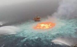 【衝撃】海底ガスパイプラインが爆発し海で大規模火災。想像を絶する映像が話題に