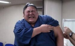 【最後w】「注射が痛いお相撲さん」4枚の写真が話題に